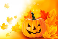 Scary Halloween Pumpkin With Leaves Stock Photo
