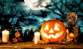 Scary halloween pumpkin on wooden planks Royalty Free Stock Photography