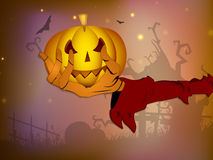 Scary Halloween pumpkin on the zombie hand Stock Image
