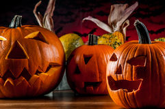 Scary halloween pumpkins Royalty Free Stock Image