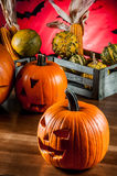 Scary halloween pumpkins Stock Photography