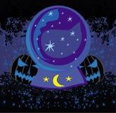 Scary Halloween pumpkins and crystal,magic ball Stock Photo