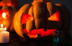 Scary Halloween pumpkins with faces Royalty Free Stock Photography