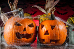 Scary halloween pumpkins, halloween theme Royalty Free Stock Photos