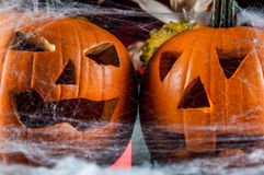 Scary halloween pumpkins, halloween theme Royalty Free Stock Photography