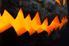 Scary Halloween pumpkins stock image