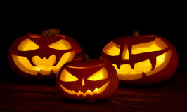 Scary halloween pumpkins jack-o-lantern Stock Photo