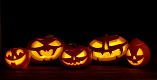 Scary halloween pumpkins jack-o-lantern Royalty Free Stock Photos