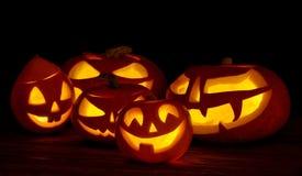 Scary halloween pumpkins jack-o-lantern Stock Images