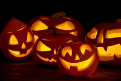 Scary halloween pumpkins jack-o-lantern Stock Images