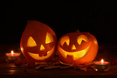 Scary halloween pumpkins jack-o-lantern Royalty Free Stock Photo