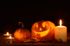 Scary halloween pumpkins jack-o-lantern Royalty Free Stock Images