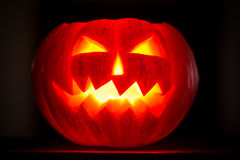 Scary halloween pumpkins jack-o-lantern candle lit Royalty Free Stock Photos