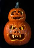 Scary Halloween pumpkins Jack O Lanterns Stock Photography