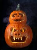 Scary Halloween pumpkins Jack O Lanterns Stock Photo