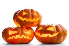 Scary halloween pumpkins Jack O Lanterns Royalty Free Stock Photos