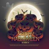 Scary halloween pumpkins on moon. Vector royalty free illustration