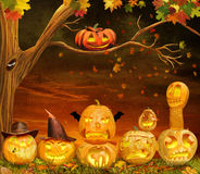 Scary Halloween Pumpkins at Night. Scary halloween pumpkins are in a dark scene with clouds in the sky with tree vector illustration