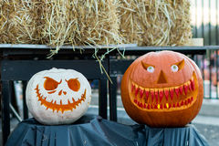 Scary Halloween Pumpkins Royalty Free Stock Photos
