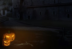 Scary Halloween Scenario. With pumpkin lanterns near the graves in old monastery graveyard. 3 D matte painting and compositing Royalty Free Stock Image