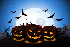Scary halloween wallpaper with carved pumpkins and scary bats. Illustration of scary halloween wallpaper with carved pumpkins and scarry bats theme background vector illustration