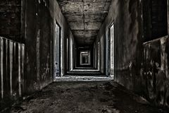 Scary hallway walkway. In abandoned building Royalty Free Stock Image