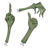 Scary hands. Three cut scary hands of dead people (showing various things Stock Images