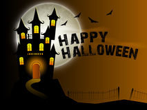 Scary haunted house for Halloween Party celebration. Royalty Free Stock Images