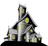 Scary haunted house illustration. Halloween illustration of a haunted ghost house royalty free illustration