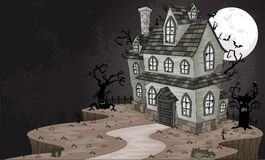Scary haunted house. Halloween background vector illustration