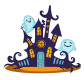 Scary haunted house. Vector Illustration. Royalty Free Stock Photo