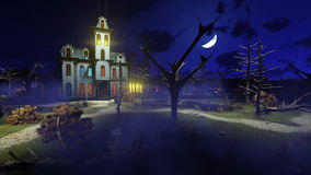 Scary haunted mansion at misty night 4K