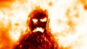 Scary hellish monster shadow on orange background stock illustration