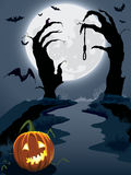 Scary hill. Halloween scary hill, illustration for Halloween holiday Royalty Free Stock Photos