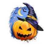 Scary holiday pumpkin with awful face in wizard hat on backdrop of dark night sky with moon and flying bats. Happy Halloween. Digital poster isolated on white