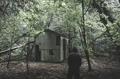 A scary hooded figure standing in a spooky forest next to an ruined hut. With a muted, eerie edit.  royalty free stock image