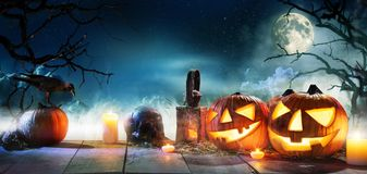Free Scary Horror Background With Halloween Pumpkins Jack O Lantern Royalty Free Stock Photo - 159860415