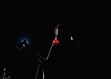 Scary horror shot Grim reaper with axe, the death itself Stock Image