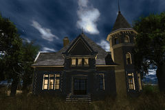 Scary House 3D render Royalty Free Stock Images