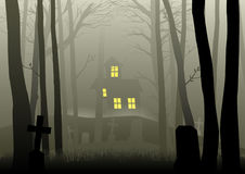 Scary house and cemetery in the dark woods. Silhouette illustration of a scary house and cemetery in the dark woods, for Halloween theme or background Royalty Free Stock Photo