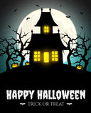 Scary house on hill with moon Royalty Free Stock Image