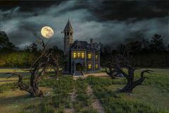 Scary house on moonlight. Will put some fun in yours creations royalty free illustration
