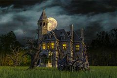 Scary house on moonlight. Will put some fun in yours creations stock illustration