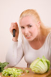Scary housewife Royalty Free Stock Photos