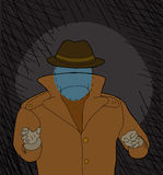 Scary Invisble Man. Invisible man with hat reaching in shadows cartoon Royalty Free Stock Photography