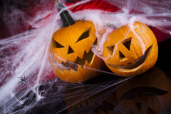 Scary Jack, halloween pumpkin and spider Royalty Free Stock Photos