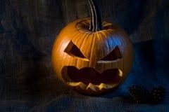 Scary jack-o-lantern on black background close up Stock Photography