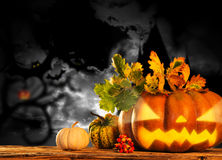 Scary jack o lantern halloween background Royalty Free Stock Image
