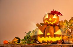 Scary jack o lantern halloween background Stock Images