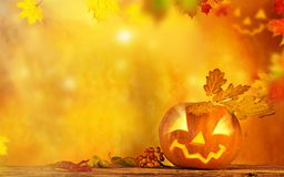 Scary jack o lantern halloween background Stock Photo